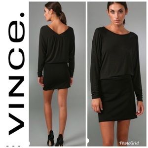 VINCE Dress Bodycon Knit Combo Wedge Tunic Black
